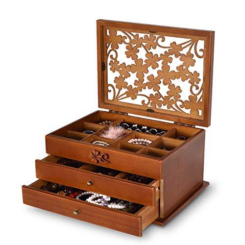Joyero de Madera Caja Retro de Maquillaje Caja de Almacenamiento de Joyas,Brown