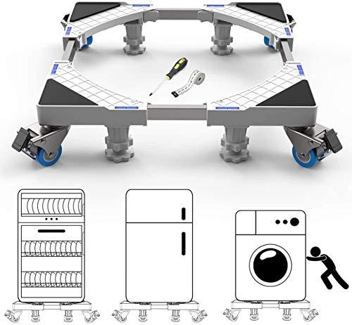 Base móvil universal con 4 patas fuertes y 8 ruedas, base multifuncional, color blanco, mueble Dolly ajustable para secadora, lavadora...