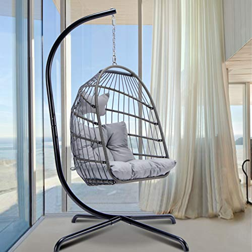 Egg Chair with Stand Indoor Outdoor Patio Wicker Hanging Chair Aluminum Frame Swing Chair Patio Egg Chair with UV Resistant Grey Cushion
