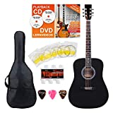 Classic Cantabile guitarra acústica set para principiantes incl. set de accesorios de 5 piezas negro