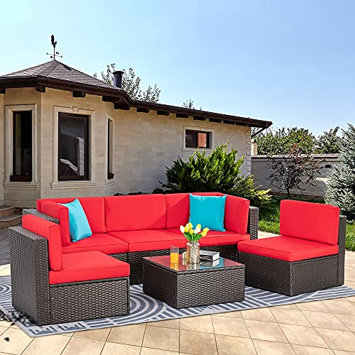 Vongrasig 6 Piece Small Patio Furniture Sets, Outdoor Sectional Sofa All Weather PE Wicker Patio Sofa Couch Garden Backyard Conversation Set with Glass Table,Red Cushions and Blue Pillows (Red)