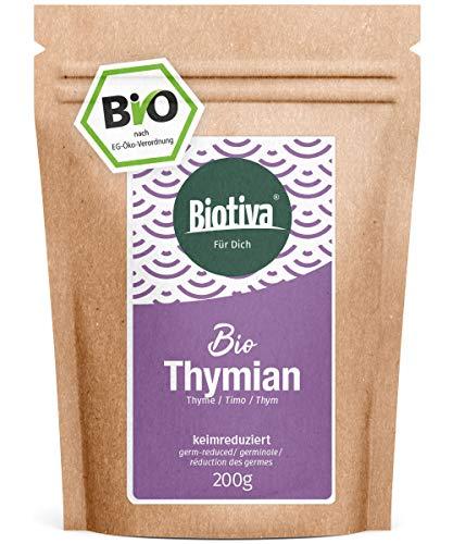Thymian Kraut Bio (200g) - Echter Thymian, geschnitten - Thymus vulgaris - ohne Trennmittel - abgefüllt und kontrolliert in Deutschland (DE-ÖKO-005)