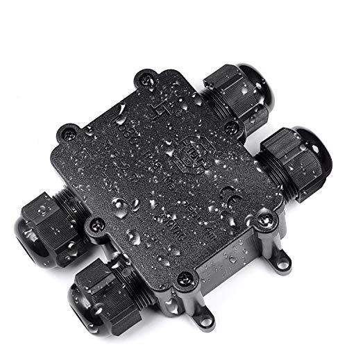 Abzweigdose, Anicoll IP68 wasserdicht Kabelverbinder, größere 3-Wege-Verbindungsdose Erdkabel Schwarz elektrischer Außenverteilerdose, M25 Kabelverschraubung Ø4mm-14mm ABS + PVC, TÜV, VDE