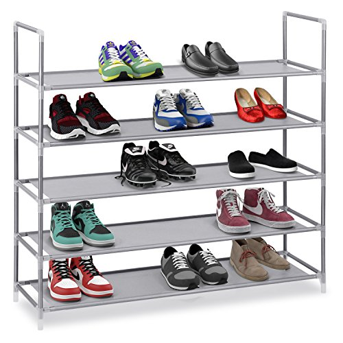 "Halter 5 Tier Stainless Steel Shoe Rack/Shoe Storage Stackable Shelves - Holds 15-20 Pairs Of Shoes - 35.75"" x 11.125"" x 34.25"" - Gray"