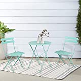 INOVIX Grand Premium Steel Bistro, Folding Outdoor Furniture, 3 Piece Set of Foldable Patio Table and Chairs, Macaron Blue