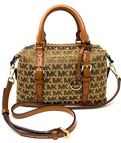 "Michael Kors Jacquard Monogram Ginger Small Duffle Satchel (Beige Ebony Luggage) Interior Features Custom Michael Kors Fabric Lining, 1 Zip Pocket, and 2 Slip Pocket Adjustable Shoulder Strap with Maximum Drop of Approx. 22 inches, Handle Drop 4"" App..."