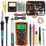 Vastar Soldering Iron Kit, Full Set 60W 110V Soldering Welding Iron Kit - Adjustable Temperature with Digital Multimeter, 5pcs Soldering Iron Tips, Desoldering Pump, Stand, Anti-static Tweezers
