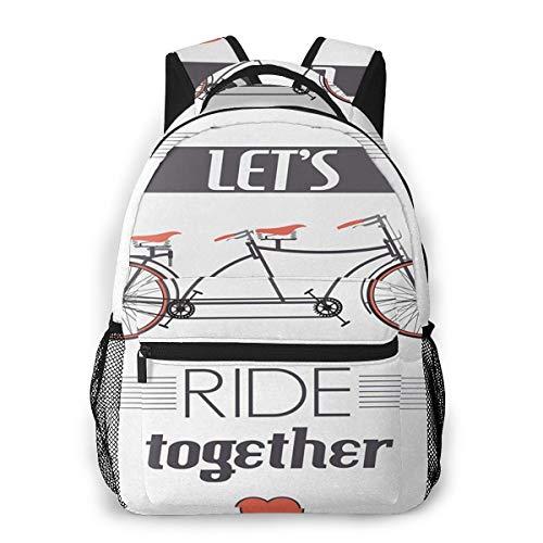 Rucksack Männer Und Damen, Laptop Rucksäcke für 14 Zoll Notebook, Doppelte Fahrrad Bild Zitat Kinderrucksack Schulrucksack Daypack für Herren Frauen