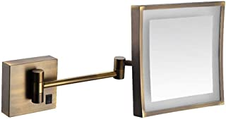 Bathroom Shaving Mirror Wall Mounted USB Charge Makeup Mirror with LED Lights and 3X Magnification Single Side Square Vanity Mirror Extendable Built-in Lithium Battery 20x20CM