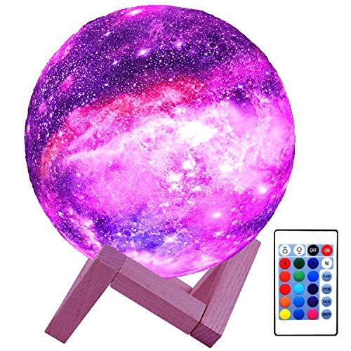 Lámpara de luna para niños, DOXUNGOO Galaxy Lamp Night Light Impresión 3D 16cm 16 colores Lámpara de noche Saturno con soporte, control remoto y táctil USB recargable para...