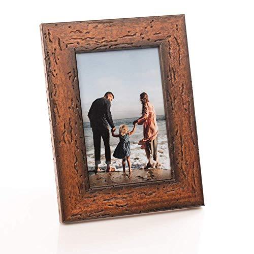 Victoria Collection - Marco de fotos de madera para fotos A4, 4 x 6 (10 x 15), 8 x 6 (15 x 20), marco de fotos de pie adecuado para escritorio y pared | Marrón 4x6 (10x15 cm)