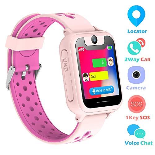 SZBXD Kids Smart Watch Phone, 1.44' GPS Tracker Smartwatch Touch Camera Games Flashlight SOS Alarm Clock Sports Wrist Watch Christmas Birthday Gifts for Girls Boys Children (Pink 2)