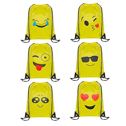 WOLINTEK Emoji Rucksack, 6 Packs Drucken Rucksack Party Favors für Kindergeburtstag Gastgeschenk Party Mitgebsel Geschenk