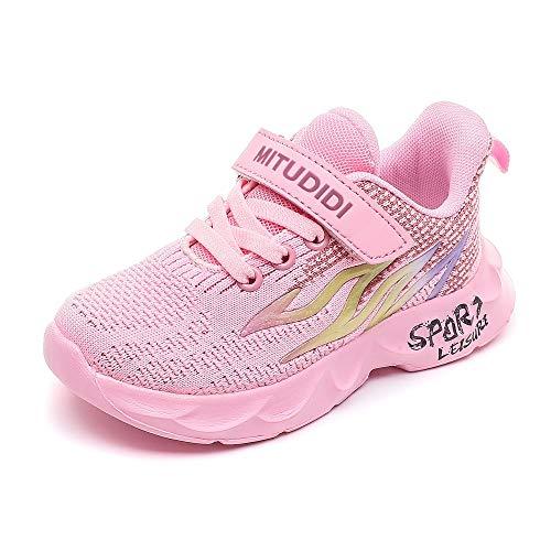 Mitudidi Sportschuhe Mädchen 28 Turnschuhe Kinder Laufschuhe Outdoor Klettverschluss rutschfest Hallenschuhe Atmungsaktiv Indoor Tennisschuhe für Unisex-Kinder Pink