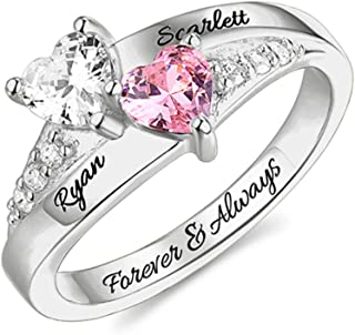 AILIN Sterling Silver Engagement Ring Promise Ring for Her 2 Heart Birthstones 2 Names & 1 Engraving Customized & Personalized