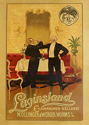 Vintage bieren, wijnen en sterke drank 'Luginsland Champagne Wijnmakerij', Duitsland, 1920, 250gsm Zacht-Satijn Laagglans Reproductie A3 Poster