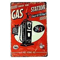 ガソリンスタンド24/7 金属板ブリキ看板警告サイン注意サイン表示パネル情報サイン金属安全サイン