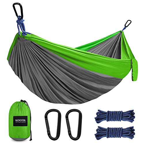 Kootek Camping Hammock Double & Single Portable Hammocks with 2 Hanging Ropes, Lightweight Nylon Parachute Hammocks for Backpacking, Travel, Beach, Backyard, Hiking (Grey & Green, Large)