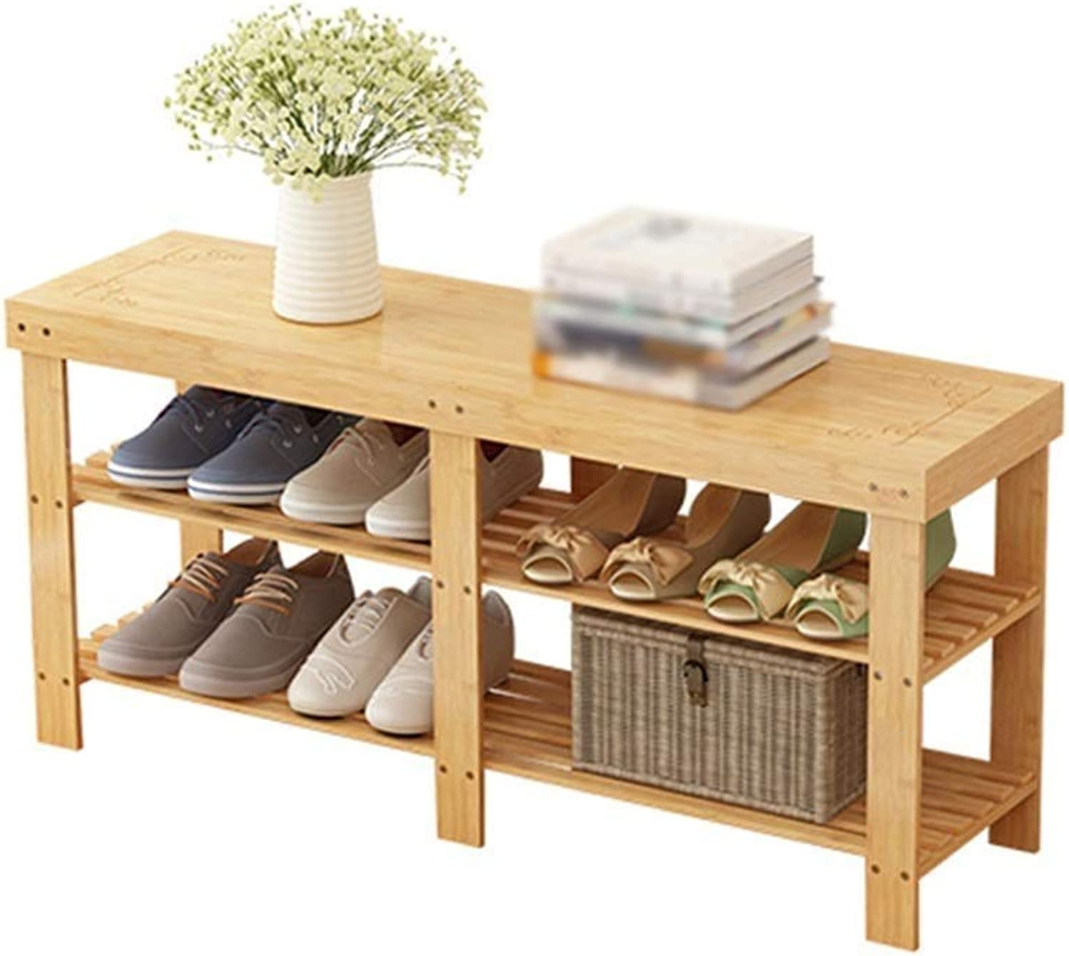2-Story shoes Bench Living Room Bedroom Bamboo shoes Rack Corridor Stool Storage Rack (Size   100×28×45cm)