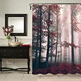 MitoVilla Red Foggy Forest Shower Curtain for Outdoor Bathroom Decor, Nature Scene of Dreamy Woodland with Mystic Light Art Print, Washable Polyester Fabric Bathroom Accessories, 72' W x 72' L