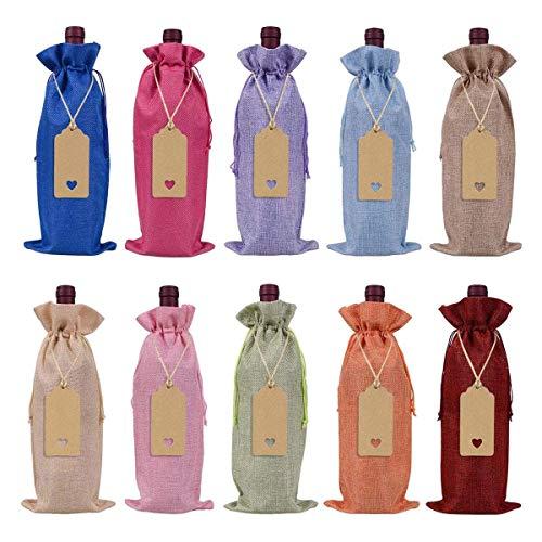 Tamkyo Bolsas de vino de arpillera, bolsas de regalo de vino con cordón, fundas para botellas de vino reutilizables con cuerdas y etiquetas (10 unidades)