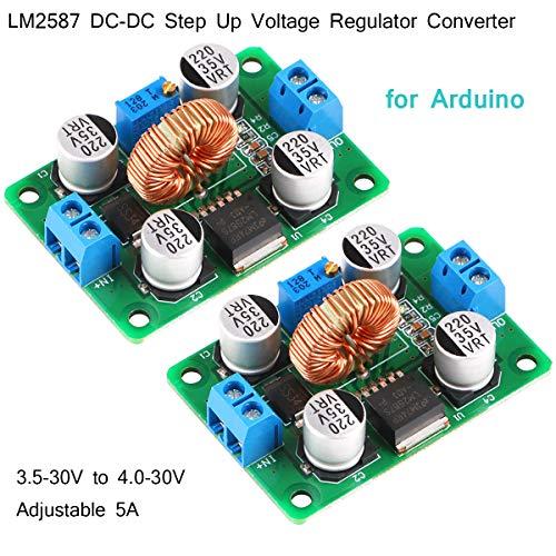 2 pièces Convertisseur de régulateur de tension élévateur CC LM2587 3.5-30V à 4.0-30V réglable 5A Convertisseur de tension Stepup Convertisseur de tension Buck Module Power Boost pour Arduino