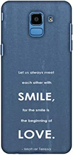 AMZER Slim Fit Handcrafted Designer Printed Snap On Hard Shell Case Back Cover Skin for Samsung Galaxy J6 (2018) - Mother Teresa - Quote Blue HD Color, Ultra Light Back Case