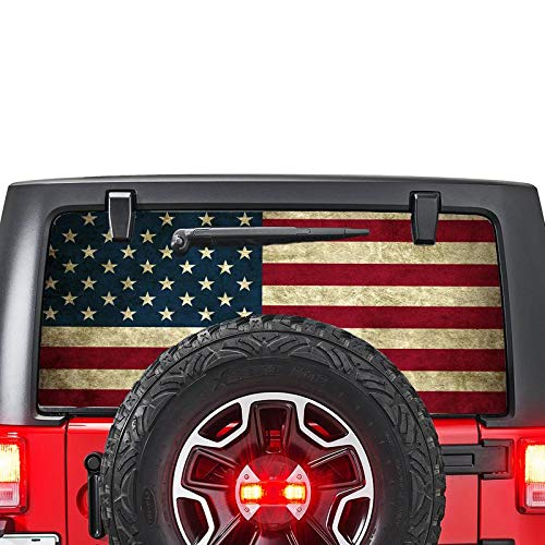 Gold Fish Decals Rear Window Perforated See Thru Graphic Decal Sticker Compatible with Jeep Wrangler jl 2018-present USF