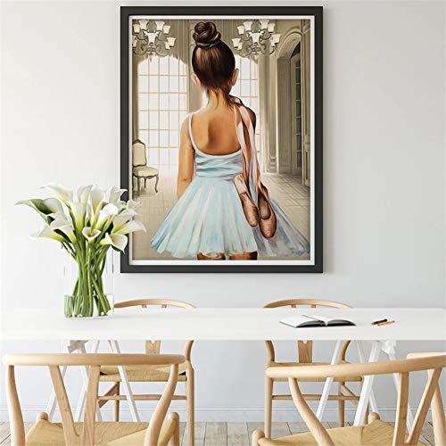 DIY 5D Diamond Painting Kits Ballet Girl Shoes Full Crystal Rhinestone Diamond Painting Adults Kids Cross Stitch Embroidery Mosaic Canvas Crafts Arts for Home Bedroom Wall Decor Gift 80x100cm