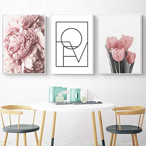 bdrsjdsb Leinwand Ungerahmt Malerei Blume Tulpe Linie Bild Kunst Poster Wand Wohnzimmer Dekoration 3# 21 * 30 cm