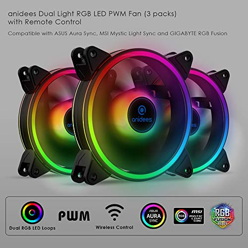 anidees AI Tesseract Duo 120mm 3pcs Doppelter Ring RGB PWM Gehäuselüfter kompatibel mit adressierbar 5V 3Pin ASUS Aura SYNC/MSI Mystic Sync/GIGABYTE Fusion, RGB Header auf MB, mit Fernbedienung