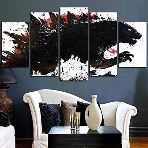 QMCVCDD 5 Stück Leinwand Bilder Moderne Wandbilder XXL Wohnzimmer Wohnkultur Godzilla Malte Schwarze Tinte Bilder 5 Teilig Leinwandbilder 5 Teilig Leinwanddrucke
