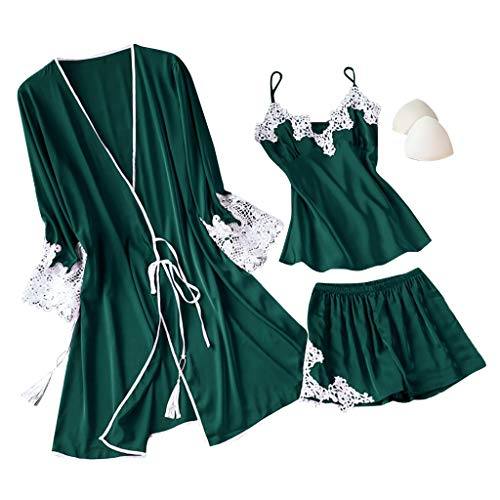 Fenverk 3Stück Negligees Damen Sexy Dessous Silk Kimono Dressing Babydoll Spitze Dessous Gürtel Bademantel Nachtwäsche Unterwäsche Lace Bodysuit(3PC Grün,S)