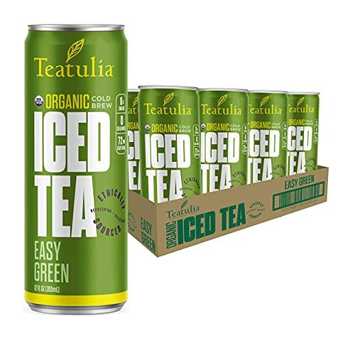 Teatulia Organic Easy Green Iced Tea 12oz Slim Cans (Pack of 12)   Still, Unsweetened, Sugar-Free, Caffeinated Canned Ice Tea