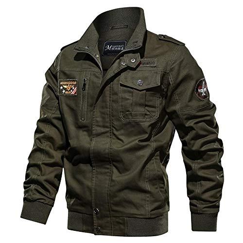 YEBIRAL Herren Cargo Jacke Militär US Feldjacke Multi Taschen Stehkragen Baumwoll Übergangsjacke Bomberjacke