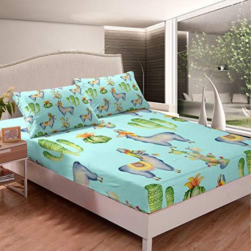 Lindo juego de cama con diseño de llama, alpaca, cactus, para niños, niñas, animales, juego de sábanas temáticas, decoración de habitación, estilo bohemio, tamaño individual, 2 unidades