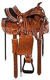 Y&Z Enterprises - Silla de montar de piel para caballos de carreras de caballos occidentales, tamaño de 35,56 cm a 18