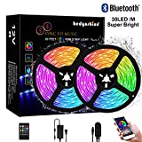 Bluetooth Music Strip Lights 33Feet, Hedynshine Waterproof Strip Lights Sync to Music SMD 5050 300pcs LED Chips, RGB 12V Rope Lights with Remote, Smart Phone App Controled Color Changing Light Strips