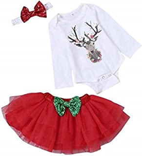 05fa8a555d1af SUPEYA Baby Girl Christmas Deer Print Rompers Tulle Dress Bow Headband  Outfit