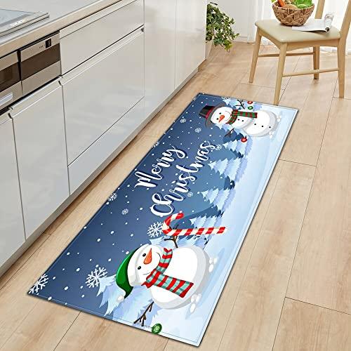 Patrón de Navidad Entrada Felpudo Cocina Alfombra Alfombra de Piso de Dormitorio Pasillo de casa Balcón Alfombra Antideslizante Decorativa NO.13 60X90cm