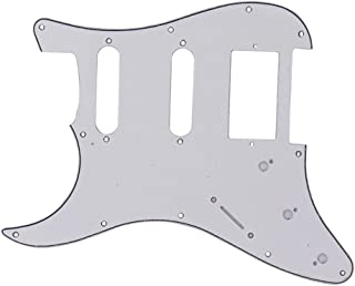 D DOLITY PVC Left-Handed Pickguard Scratch Plate for ST SQ Electric Guitar Parts - White SSH