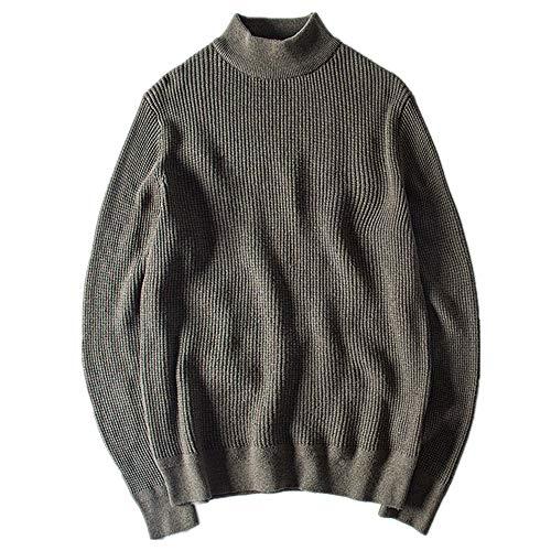 Primavera tinta unita maglione mezzo collo alto tempo libero arte maglione manica lunga uomo maglione Verde XL