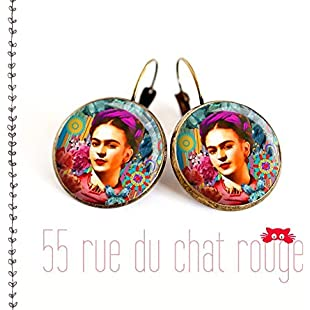 Glass cabochon earrings 12/14/16/18/20 mm Portrait Frida Kahlo, Mexico, Bohemian chic, gypsy, multicolor:Animalnews