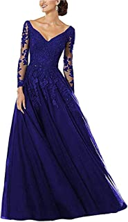 Liliesdresses Strap V Neck Prom Dresses Long 2019 A-line Lace Applique Beaded Formal Evening Ball Gowns with