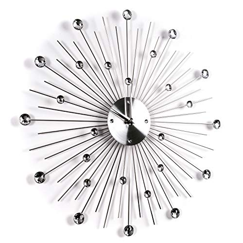 Design WANDKLOK Glinsterende Diamant | Ø 50 cm, rvs, acryl stenen | woonkamerklok met stenen, slaapkamerklok, grote klok