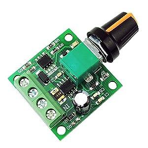 SODIAL Regulador de velocidad del motor de 1.8V 3V 5V 6V 7.2V 12V 2A 30W DC (PWM) Interruptor de controlador ajustable 1803BK