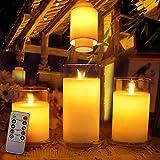 WMDC Vela de Cera LED sin Llama inalámbrica Realista con Control Remoto para año Nuevo, Navidad, decoración de Bodas, decoración del hogar.Cálido (Color: Tamaño 75x100 mm)