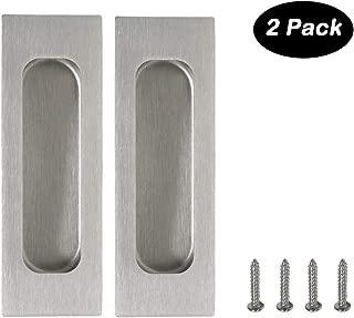 2 pack Rectangular Flat Plate Flush Recessed Sliding Pocket Door Handles 4-3/4in x1-3/5in(120mmx40mm)
