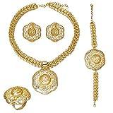 Ultimo Big Dubai Oro Color Gioielli Set Moda Matrimonio Nigeriano Perline Costume Collana Bangle Orecchino Anello