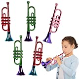 ArtCreativity 13 Inch Metallic Trumpets, Set of 5, Fun Plastic Musical Instruments Noise Makers for Parties and Events, Music Toys for Kids, Cool Birthday Party Favors for Boys and Girls